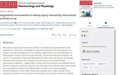 """Publicação em revista internacional – """"Clinical and Experimental Pharmacology and Physiology"""""""
